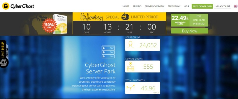 CyberGhost VPN review homepage