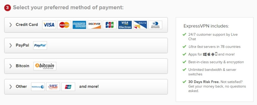 ExpressVPN review payment method
