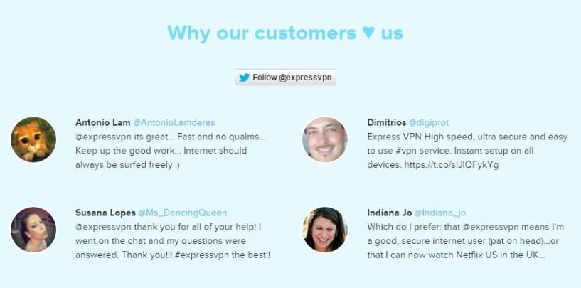 ExpressVPN review testimonial