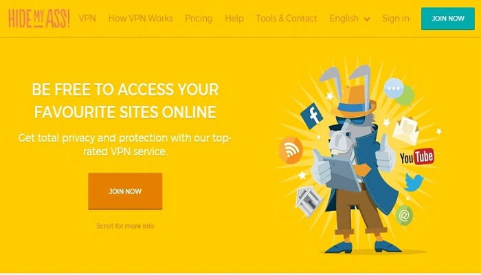 HideMyAss Review homepage