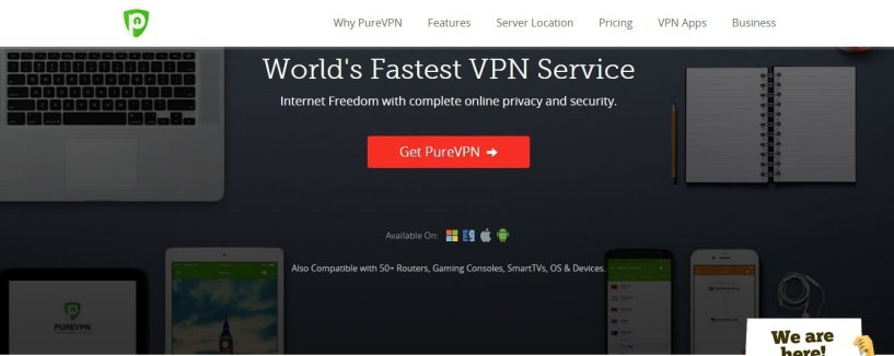 PureVPN review homepage