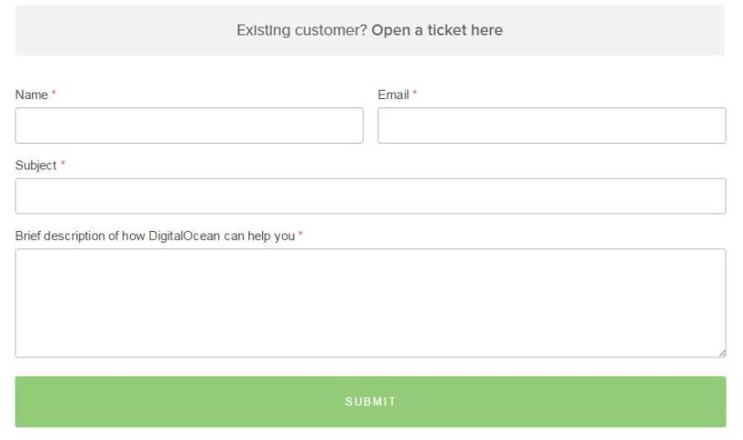 DigitalOcean Review support ticket