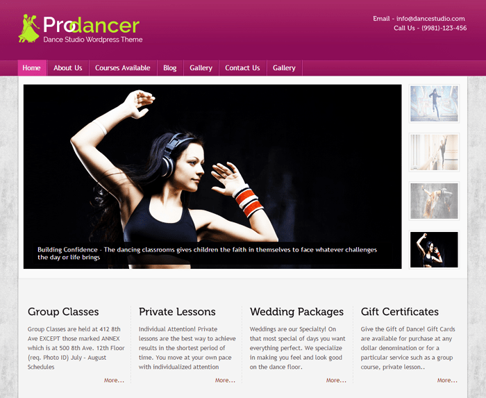 Prodancer WordPress Theme
