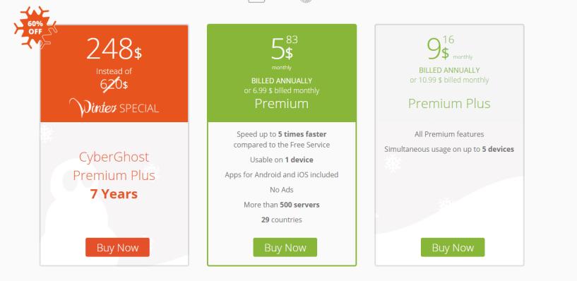 CyberGhost VPN pricing