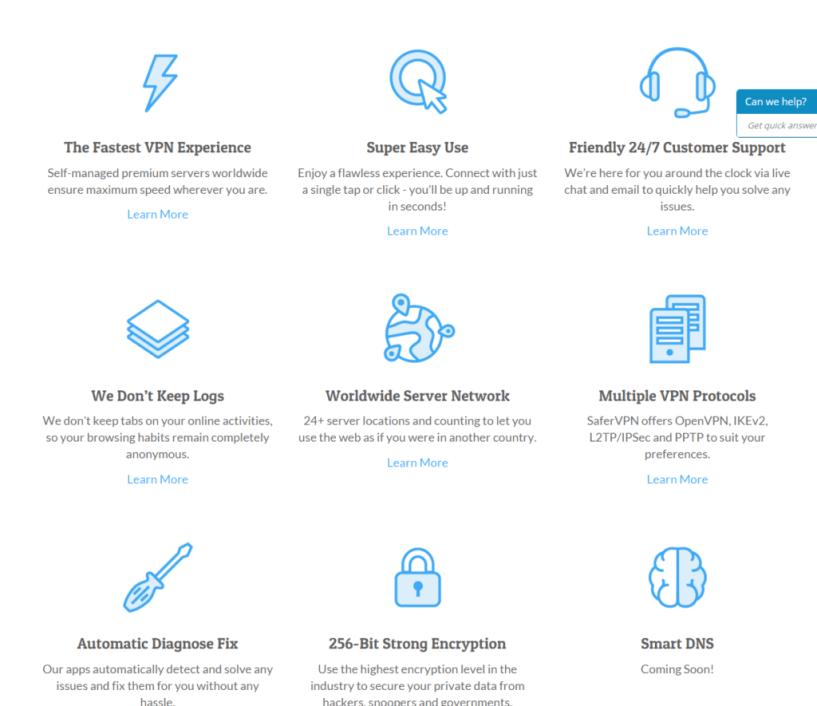 SaferVPN top features