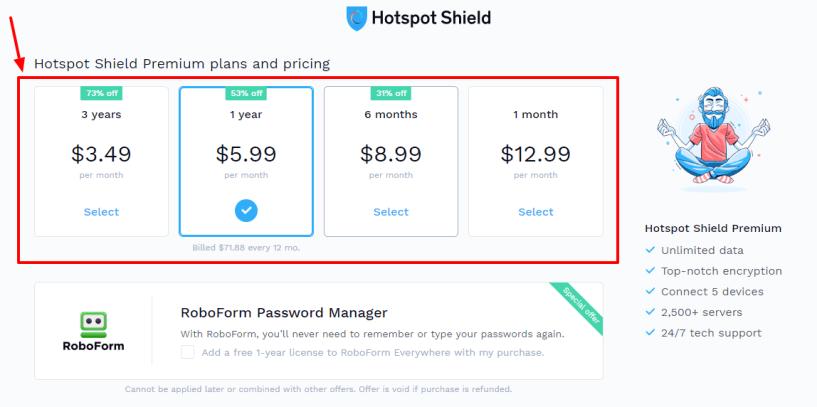 Hotspot Shield Elite VPN Coupon Codes - pricing plan