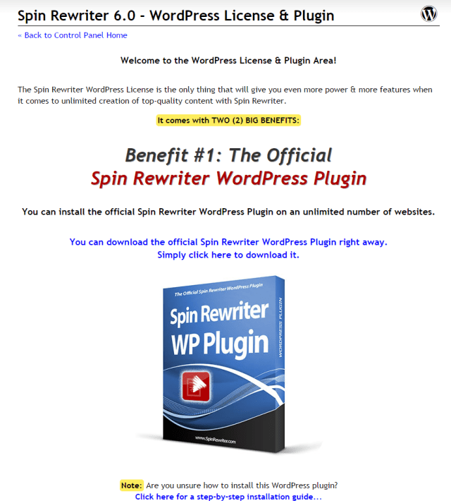 Spin Rewriter 6.0 WordPress License Plugin