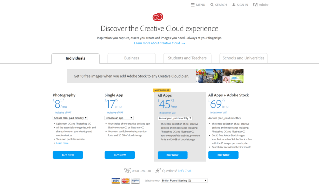 Adobe Creative Cloud Creative Cloud pricing and membership plans