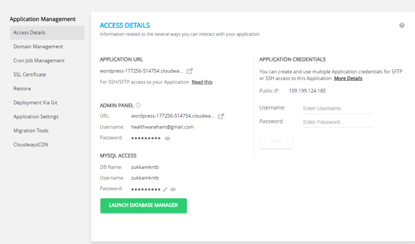 cloudways wordpress hosting- access details