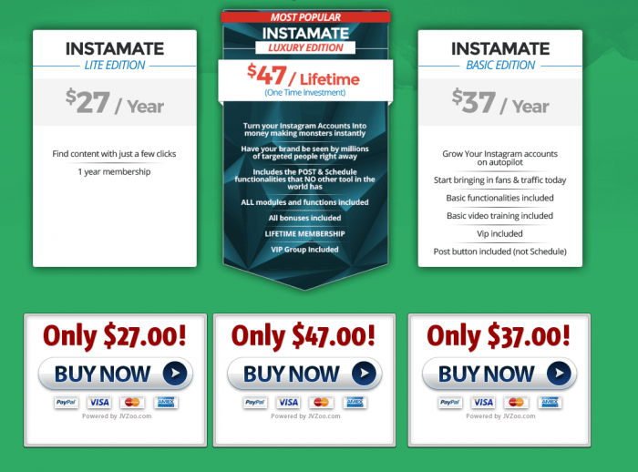 Instamate pricing