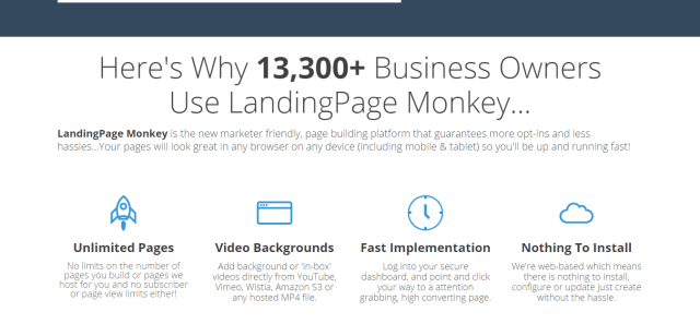 LandingPage Monkey features and bonus discount too