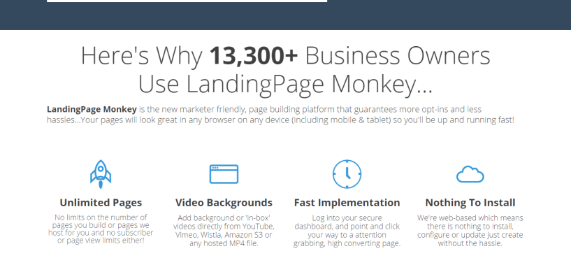 LandingPage Monkey features and bonus discount too