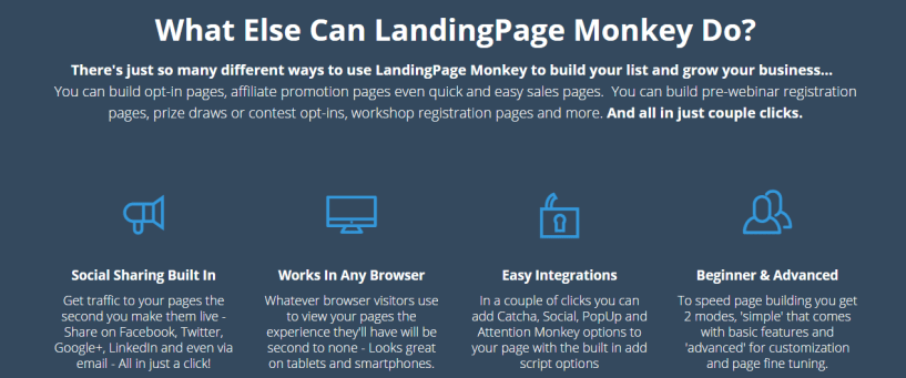 LandingPage Monkey top features tutorials and discount coupon reviews
