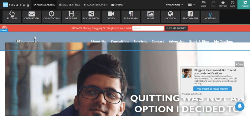 Revamply Website Editor Bloggersideas changes