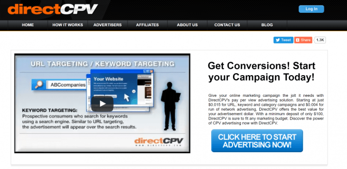 DirectCPV Pay Per View PPV Cost Per View CPV Contextual Online Advertising Network