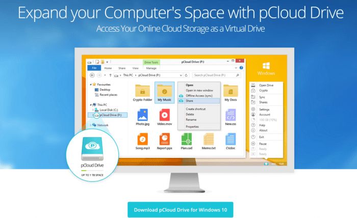 pCloud Drive Windows Expand your computer storage with up to 1TB