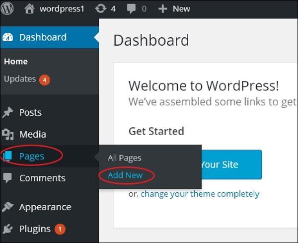 Add pages - WordPress Blog Setup