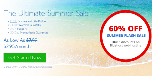 Summer Sale TODAY ONLY! 60% off on Shared Hosting from Bluehost