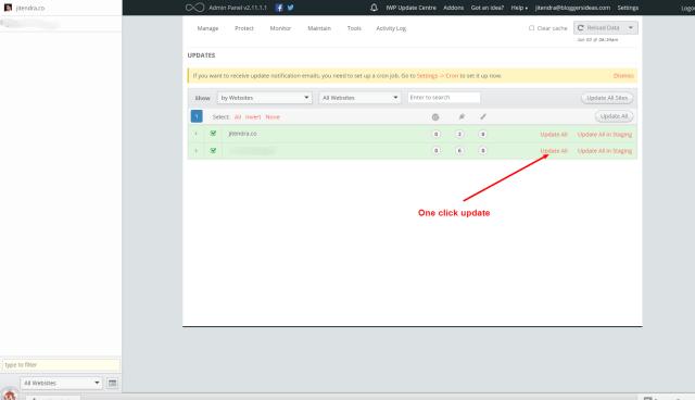 InfiniteWP one click update