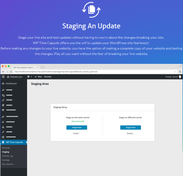 WP Time Capsule Review- Feature Staging and update