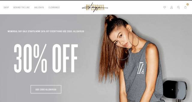 daya by zendaya - shopify store