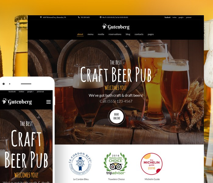 Beer Pub and Brewery WordPress Theme