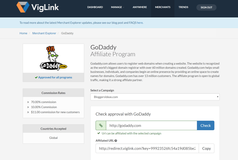 Viglink Dashboard Goddady Affiliate Program Link