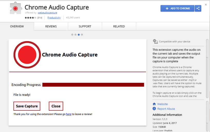 Chrome Audio Capture-Download Manager Extension