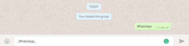Italics Text- Change Fonts in WhatsApp