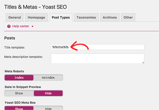 Yoast SEO Plugin- Post Types