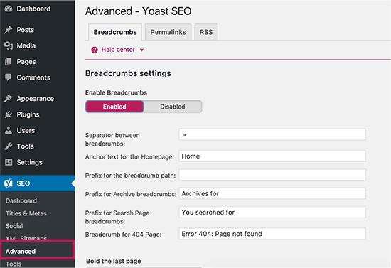 Yoast SEO Plugins- Breadcrumbs