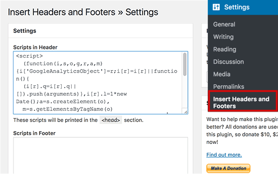 Google Analytics- Insert Headers and Footers plugin: