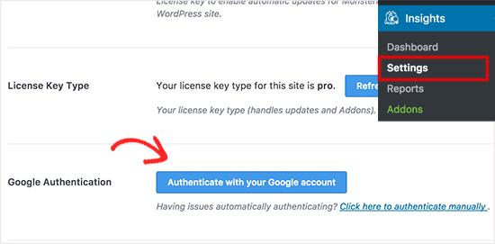 Google Analytics- MonsterInsights Authentication
