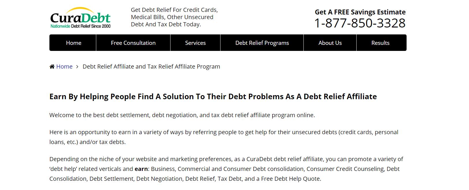 Cura Debt- Affiliate Programs