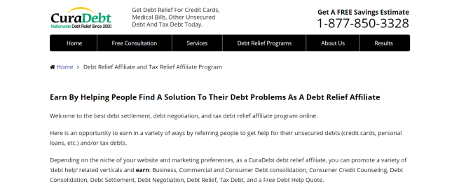 Cura Debt- Affiliate Programs