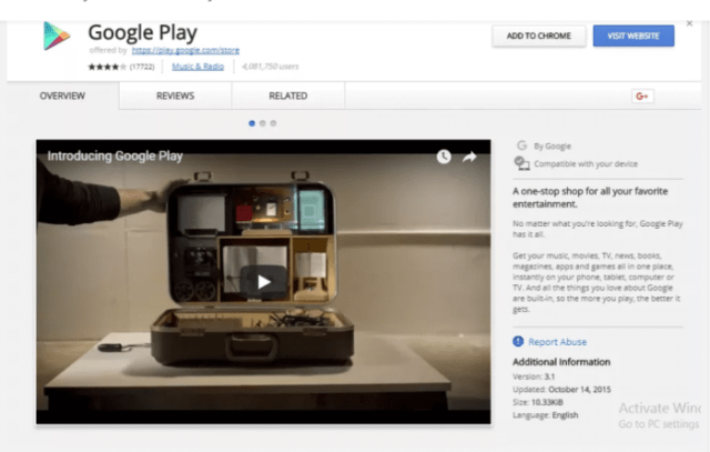 using Chrome- Google Play Store for Windows PC