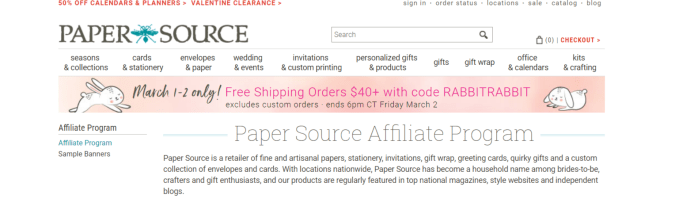 Paper Source- Art Affiliate Programs