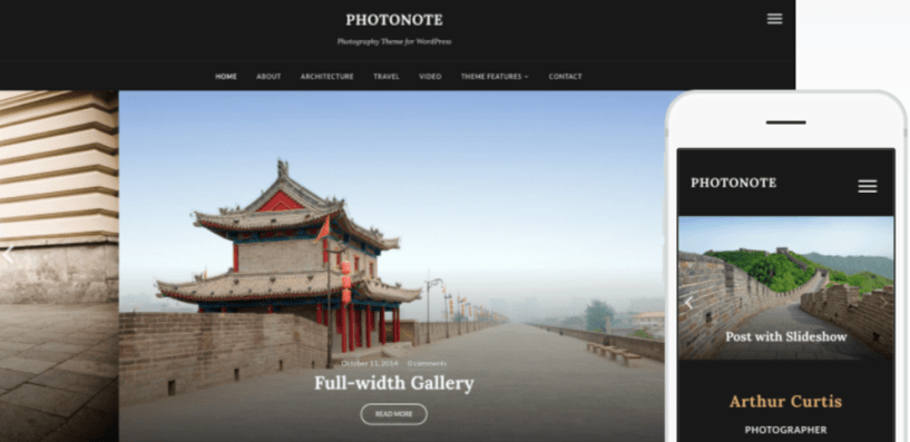 PhotoNote 2.0 Photography WordPress Themes