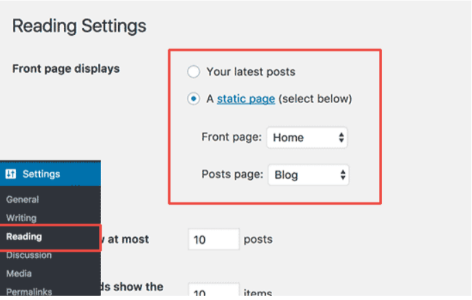 Reading Settings-Create a Website With WordPress