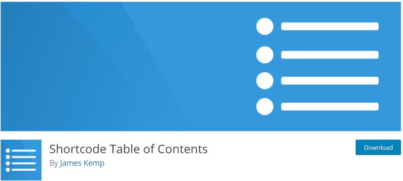 Shortcode -Table of Content WordPress Plugins