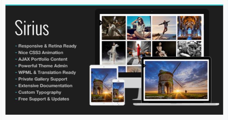 Sirius: Photography WordPress Themes