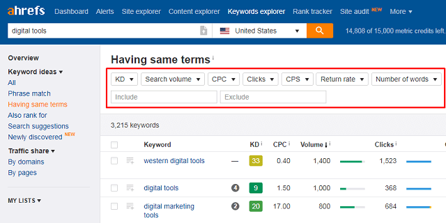 ahrefs-keyword-filters