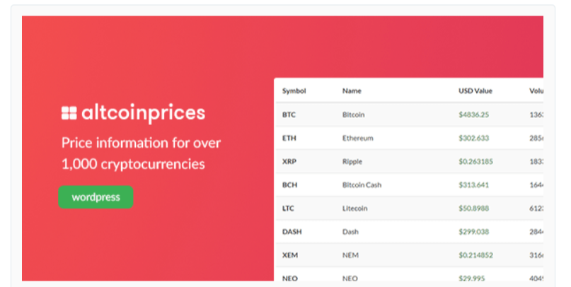 Altcoin Prices - Cryptocurrency WordPress Plugins