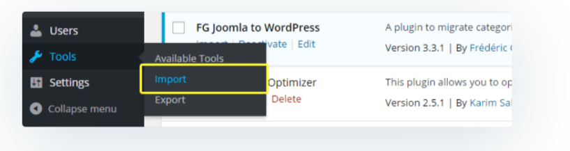 Import Option- Migrate Joomla to WordPress