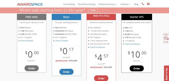 cheap web hosting- awardspace