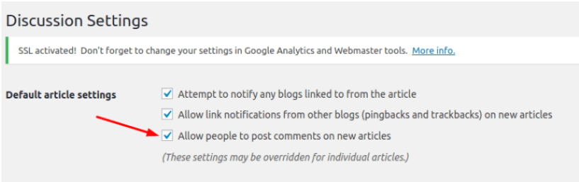 Create A Blog Easily- Discussion Settings