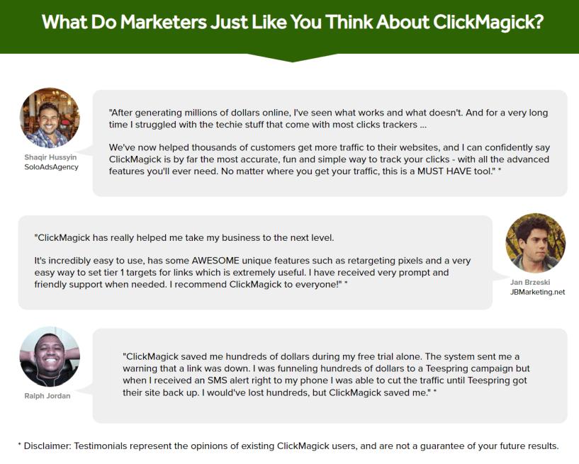 ClickMagick Review- Marketers Testimonials