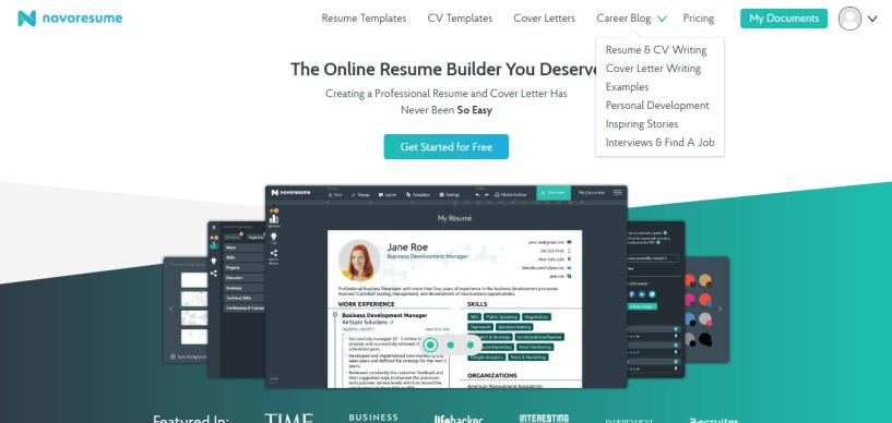 Novoresume resume and Cv builder