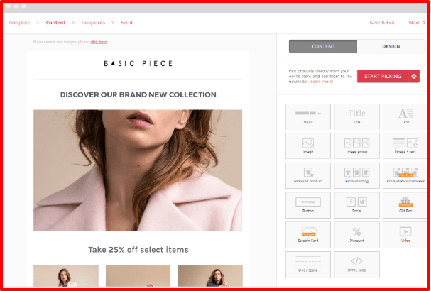 Omnisend Review- Product Picker