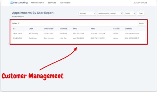 Start Booking Review- Customer Management
